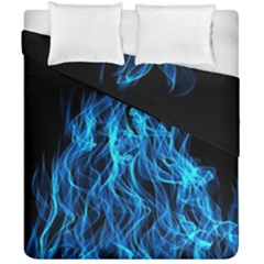 Digitally Created Blue Flames Of Fire Duvet Cover Double Side (california King Size) by Simbadda