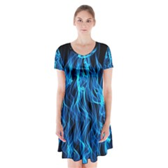 Digitally Created Blue Flames Of Fire Short Sleeve V Neck Flare Dress by Simbadda