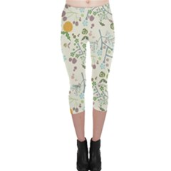 Floral Kraft Seamless Pattern Capri Leggings