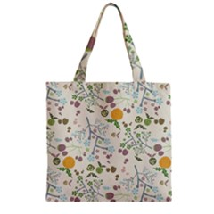 Floral Kraft Seamless Pattern Zipper Grocery Tote Bag by Simbadda
