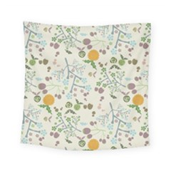 Floral Kraft Seamless Pattern Square Tapestry (small) by Simbadda
