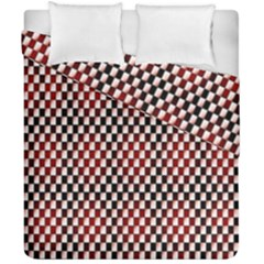 Squares Red Background Duvet Cover Double Side (california King Size) by Simbadda