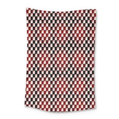 Squares Red Background Small Tapestry