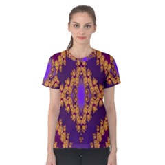 Something Different Fractal In Orange And Blue Women s Cotton Tee by Simbadda