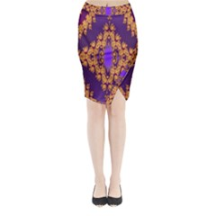 Something Different Fractal In Orange And Blue Midi Wrap Pencil Skirt