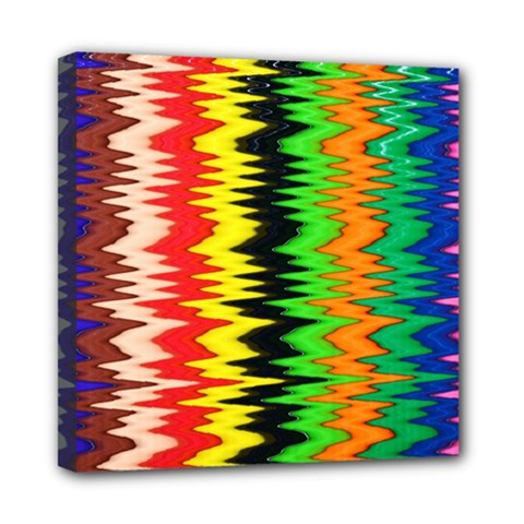 Colorful Liquid Zigzag Stripes Background Wallpaper Mini Canvas 8  X 8  by Simbadda