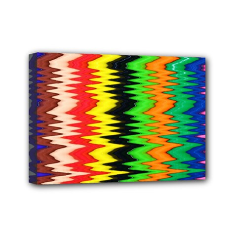 Colorful Liquid Zigzag Stripes Background Wallpaper Mini Canvas 7  X 5  by Simbadda