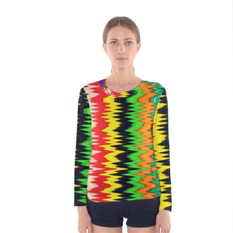 Colorful Liquid Zigzag Stripes Background Wallpaper Women s Long Sleeve Tee by Simbadda