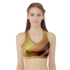 Diagonal Color Fractal Stripes In 3d Glass Frame Sports Bra With Border by Simbadda