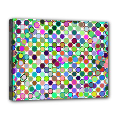 Colorful Dots Balls On White Background Canvas 14  X 11  by Simbadda