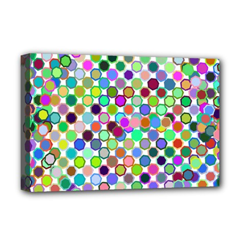 Colorful Dots Balls On White Background Deluxe Canvas 18  X 12   by Simbadda