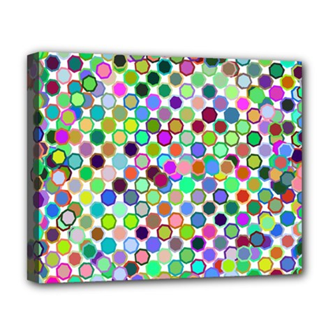 Colorful Dots Balls On White Background Deluxe Canvas 20  X 16   by Simbadda