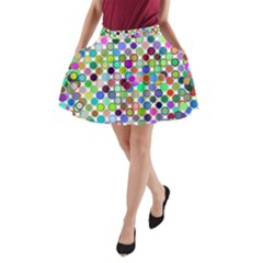 Colorful Dots Balls On White Background A Line Pocket Skirt by Simbadda