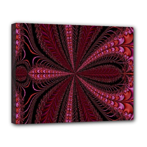 Red Ribbon Effect Newtonian Fractal Canvas 14  X 11
