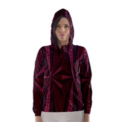 Red Ribbon Effect Newtonian Fractal Hooded Wind Breaker (women) by Simbadda