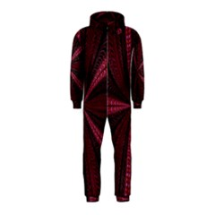 Red Ribbon Effect Newtonian Fractal Hooded Jumpsuit (kids) by Simbadda