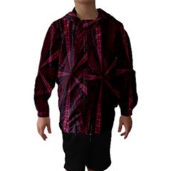 Red Ribbon Effect Newtonian Fractal Hooded Wind Breaker (kids) by Simbadda
