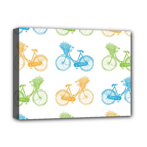 Vintage Bikes With Basket Of Flowers Colorful Wallpaper Background Illustration Deluxe Canvas 16  X 12