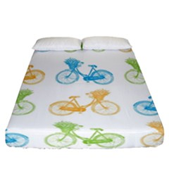 Vintage Bikes With Basket Of Flowers Colorful Wallpaper Background Illustration Fitted Sheet (california King Size) by Simbadda