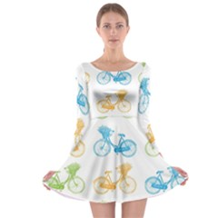 Vintage Bikes With Basket Of Flowers Colorful Wallpaper Background Illustration Long Sleeve Skater Dress by Simbadda