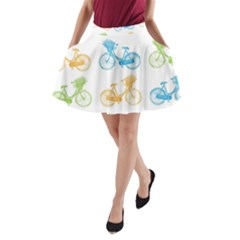 Vintage Bikes With Basket Of Flowers Colorful Wallpaper Background Illustration A Line Pocket Skirt by Simbadda