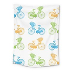 Vintage Bikes With Basket Of Flowers Colorful Wallpaper Background Illustration Medium Tapestry