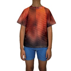 Background Technical Design With Orange Colors And Details Kids  Short Sleeve Swimwear by Simbadda
