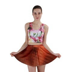 Background Technical Design With Orange Colors And Details Mini Skirt by Simbadda