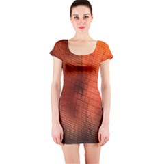 Background Technical Design With Orange Colors And Details Short Sleeve Bodycon Dress by Simbadda