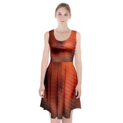 Background Technical Design With Orange Colors And Details Racerback Midi Dress by Simbadda