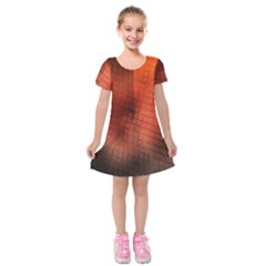 Background Technical Design With Orange Colors And Details Kids  Short Sleeve Velvet Dress