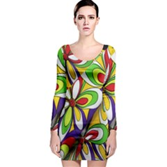 Colorful Textile Background Long Sleeve Bodycon Dress