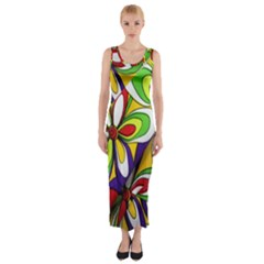 Colorful Textile Background Fitted Maxi Dress