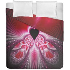 Illuminated Red Hear Red Heart Background With Light Effects Duvet Cover Double Side (california King Size)