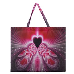 Illuminated Red Hear Red Heart Background With Light Effects Zipper Large Tote Bag by Simbadda
