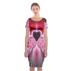 Illuminated Red Hear Red Heart Background With Light Effects Classic Short Sleeve Midi Dress by Simbadda