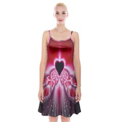 Illuminated Red Hear Red Heart Background With Light Effects Spaghetti Strap Velvet Dress