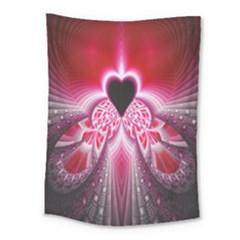 Illuminated Red Hear Red Heart Background With Light Effects Medium Tapestry