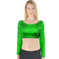 Leaf Outline Abstract Long Sleeve Crop Top