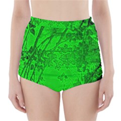 Leaf Outline Abstract High-waisted Bikini Bottoms by Simbadda