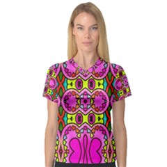 Colourful Abstract Background Design Pattern Women s V Neck Sport Mesh Tee by Simbadda