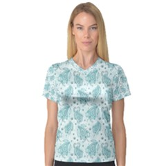 Decorative Floral Paisley Pattern Women s V Neck Sport Mesh Tee by TastefulDesigns