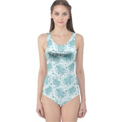Decorative Floral Paisley Pattern One Piece Swimsuit by TastefulDesigns