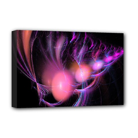 Fractal Image Of Pink Balls Whooshing Into The Distance Deluxe Canvas 18  X 12   by Simbadda