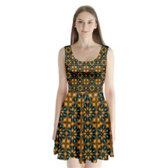 Abstract Daisies Split Back Mini Dress