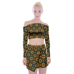 Abstract Daisies Off Shoulder Top With Skirt Set
