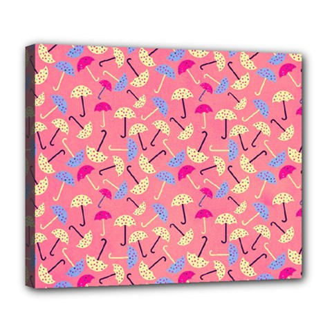 Umbrella Seamless Pattern Pink Deluxe Canvas 24  X 20   by Simbadda