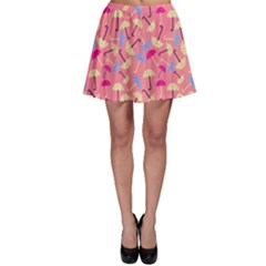 Umbrella Seamless Pattern Pink Skater Skirt