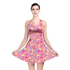 Umbrella Seamless Pattern Pink Reversible Skater Dress