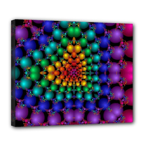Mirror Fractal Balls On Black Background Deluxe Canvas 24  X 20   by Simbadda